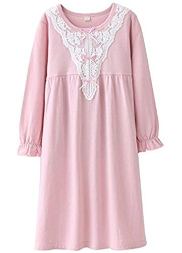 HOYMN Girls Pink Nightgown, 100% Cotton Sleepwear Nightwear for Children 4-5 Years