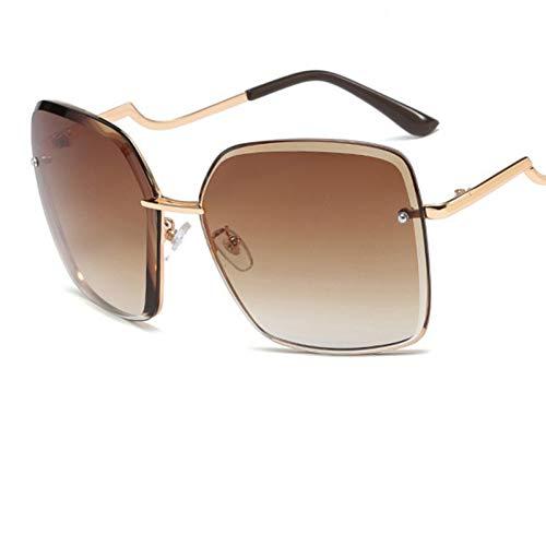 KANGDE fashion Gradient lens Square rimless women sunglasses metal sun glasses ladies vintage big glasses UV400