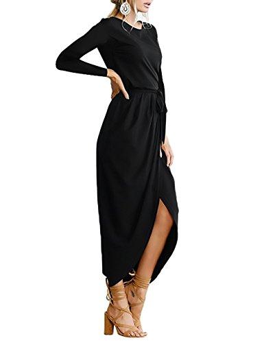 ... Damen Kleider Elegant Herbst Festlich Kleid Lange Ärmel O Ausschnitt  Geöffnete Gabel Maxikleider Riemchen Einfarbig Lang ... 366771ef6e