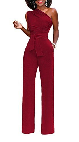 onlypuff Wine Red Jumpsuits and Rompers for Women Ladies Elegant Sexy One Shoulder Sleeveless Solid Color with Belt XLarge