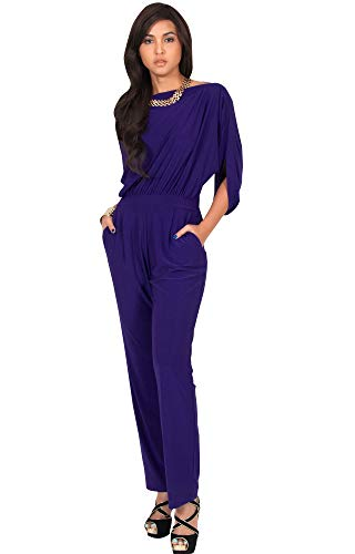 KOH KOH Womens Short Sleeve Sexy Formal Cocktail Casual Cute Long Pants One Piece Fall Pockets Dressy Jumpsuit Romper Long Leg Pant Suit Suits Outfit Playsuit, Indigo Blue Purple L 12-14 ()
