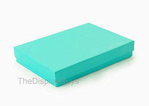 The Display Guys, Pack of 100 Teal Green 5 3/8x3 7/8x1 inches Cotton Filled Paper Jewelry Box Gift Display Case (#53)