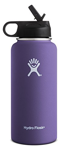 Hydro Flask Vacuum Insulated Stainless Steel Water Bottle Wide Mouth with Straw Lid (Plum, (Plum Compact)