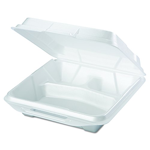 3 Waste Containers (Genpak 20310 Foam Food Containers, 3-Comp, 9 1/4 x 9 1/4 x 3, White, Bag of 100 (Case of 2))