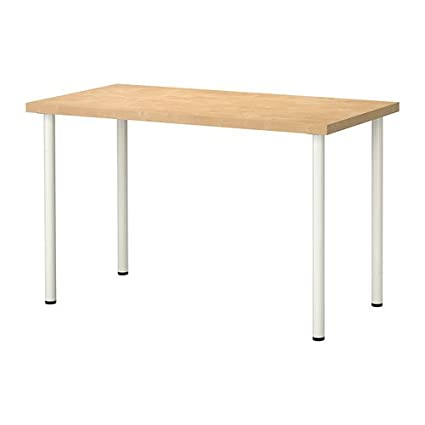 Ikea Adjustable Table, Birch Effect Top, White Legs 202020.11817.2618