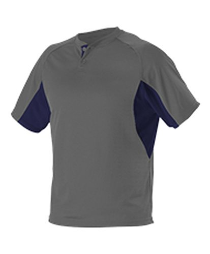 Alleson Youth 2 Button Henley Baseball Jersey Charcoal, Navy L 525Y (Alleson Baseball Jersey)