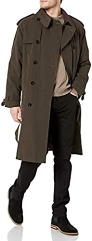 LONDON FOG Men's Double Breasted Belted Iconic Trench Coat, with Zip Out L
