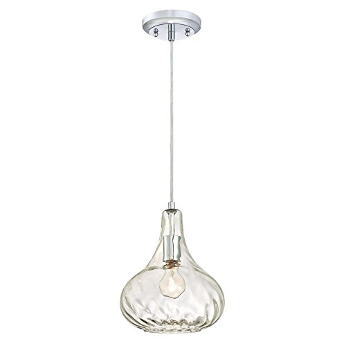 Westinghouse Lighting 6328700 One-Light Indoor Pendant, Chrome Finish with Clear Hammered Glass