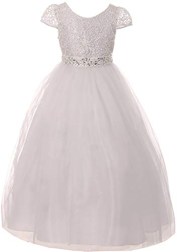 Big Girls' Elegant Lace Pearl Rhinestone First Communion Flower Girl Dress White Size 16 (M38BK8) -