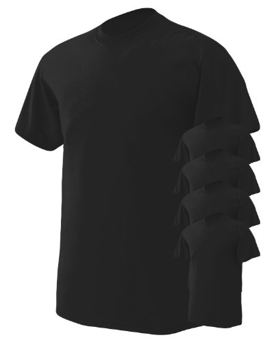 Black Moisture Wicking T-shirt - Gildan Men's Wicks Moisture T-Shirt, Black, Large. (Pack of 5)