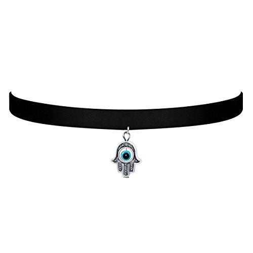 Price comparison product image Black Velvet Choker Necklace Gothic with Hamsa Hand Evil Eye Pendant 3/8-Inch for Girls women (Hamsa Hand)