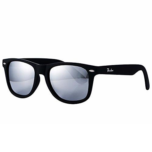 Pro Acme PA2140 Classic Polarized Wayfarer Sunglasses Unisex Square Frame (Silver Mirrored Lens/Matte Black - Sunglasses Type Square