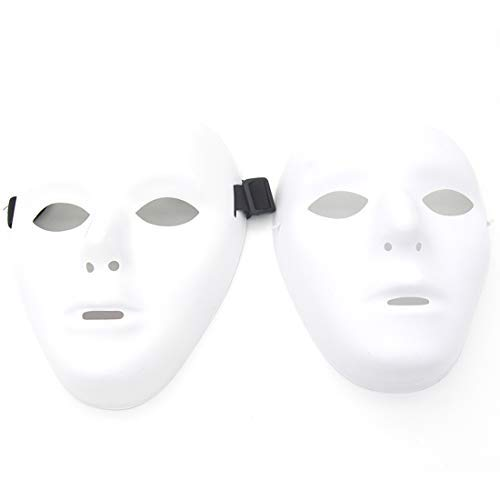 Kvvdi Scary White Blank Face Masks for Halloween DIY (Female+Male, White) -