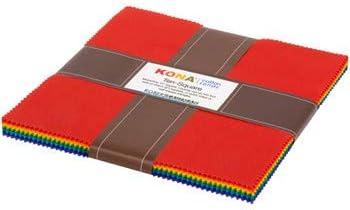 """10"""" Squares - Kona Cotton Solids Bright Rainbow Colors Robert Kaufman Ten-Square Fabric Bundle Quilter's Cotton Precuts (M536.05)"""