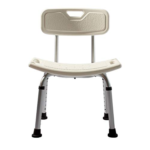 (Bath Stool Bath Anti-Slip Chair White Shower Stool Bath Perching Stool for Disabled Elderly Pregnant Adjustable Height Portable Shower Seat with Aluminum Alloy Frame and Back)