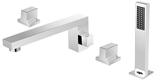 Dyconn Faucet BTF51-CHR Signature Series Catalan 4 Hole Roman Tub Filler Deck Mount with Matching Hand Shower For Tub & Jacuzzi , Chrome