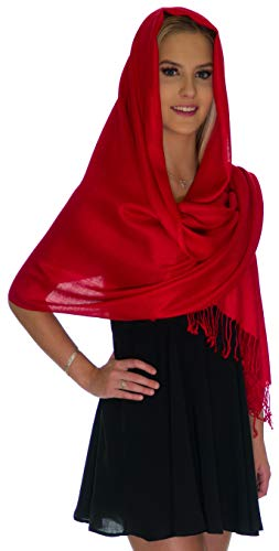 Pashmina Shawls and Wraps - Large Scarfs for Women - Party Bridal Long Fashion Shawl Wrap with Fringe by Petal Rose Red