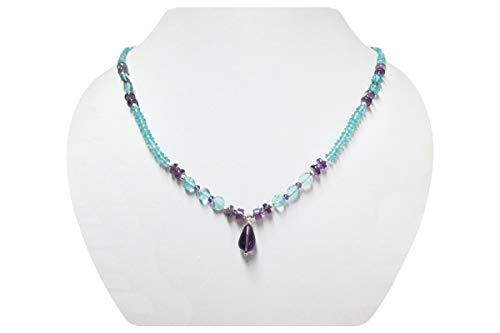 Natural Amethyst & Apatite Beads Necklace Strand with 925 Silver Findings 16