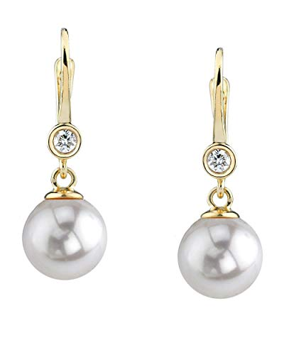 THE PEARL SOURCE 14K Gold 8.5-9mm AAA Quality Round White Akoya Cultured Pearl & Diamond Michelle Earrings for ()