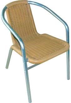 Garden/mimbre silla sillón diseño cilíndrico Aluminio y PVC - 53Wx58Dx73, 5Hcm (4 unidades) - diseño elegante y duradero muebles para lugar de tu jardín para: Amazon.es: Jardín