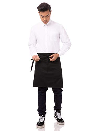 Chef Works Half Bistro Apron, Black, 19-Inch Length by 30-Inch Width (White And Black Apron)