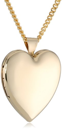 Polished Plated Heart Locket Necklace