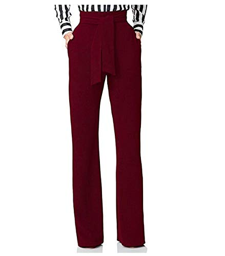 (HISSP Women's High Waisted Pants Plain Slim Straight Wide Leg Pants Trousers with Belt)