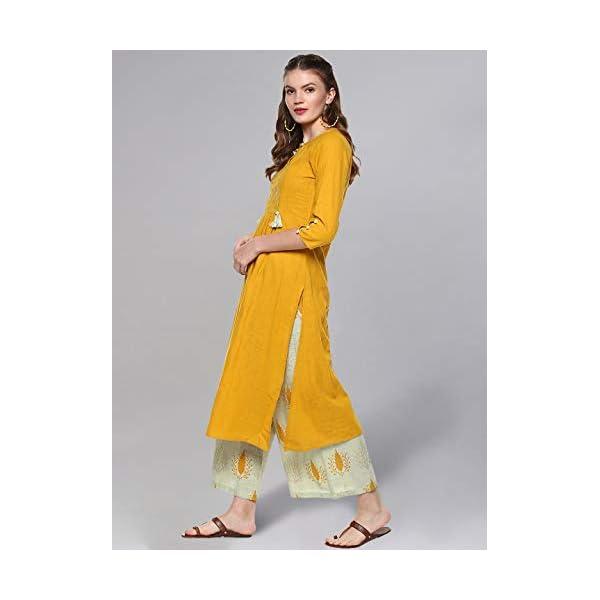 Idalia Women's Mustard And Sage Green Cotton Kurta Set