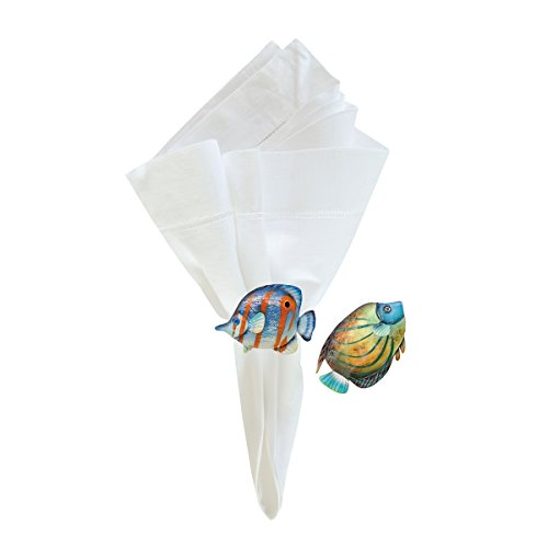Home Bermuda - C&F Home Metal Bermuda Fish Napkin Rings, 2.5-in, Assorted 2