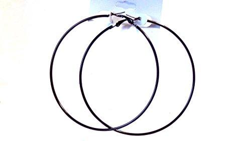 Black Hoop Earrings Thin Hoop Earrings Black Hoops 3 Inch