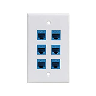Cat 6 Ethernet Wall Plate 6 Port,Ethernet Wall Plate Female-Female Removable Compatible with Cat7/6/6e/5/5e Ethernet Devices -Blue