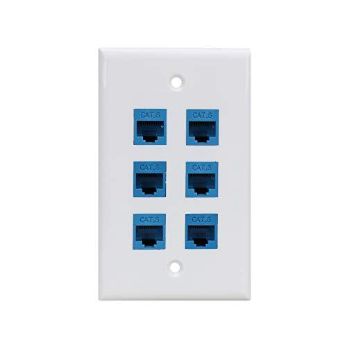 (Cat 6 Ethernet Wall Plate 6 Port,Ethernet Wall Plate Female-Female Removable Compatible with Cat7/6/6e/5/5e Ethernet Devices -Blue)
