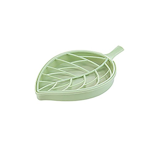 Feitengtd Leaf Shape Soap Box Dish Storage Plate Tray Holder Case Container (Green) ()