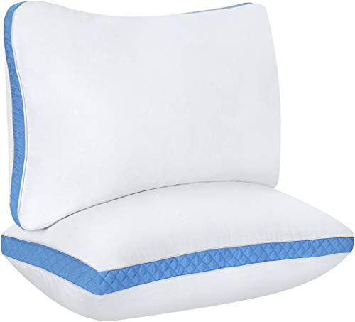 Utopia Bedding Gusseted Quilted Pillow (2-Pack) Premium Quality Bed Pillows - Side Back Sleepers - Blue Gusset - Queen - 18 x 26 Inches (Best Quality Pillows For Side Sleepers)