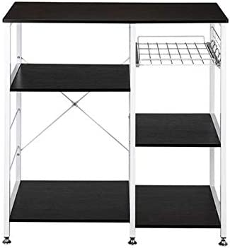 "Utility Shelves 35.5"" Kitchen Baker's Rack Utility Storage Shelf Microwave Stand 3-Tier 3-Tier Table For Spice Rack Organizer Workstation Dark Brown"