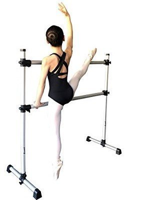 Double Ballet Barre Stretch Dance Bar 4' - Lightweight, Portable, Adjustable with Travel bag and 10 loop Stretch Strap Bundle - by Superb by Superb