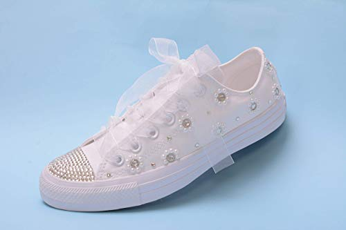 Bling White Pearl Wedding Sneakers For Bride, Lace Bridal Trainers, Chuck Taylor Bride Tennis Shoes