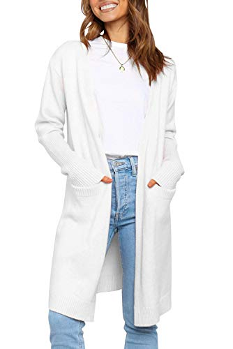 ZESICA Women's Long Sleeve Striped Color Block Open Front Draped Loose Knit Lightweight Cardigan Sweater Coat