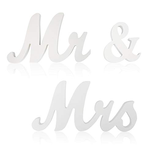 senover Mr and Mrs Sign Wedding Sweetheart Table Decorations,Mr and Mrs Letters Decorative Letters for Wedding Photo Props Party Banner Decoration,Wedding Shower Gift (White)