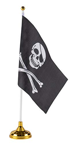 Pirate Desk Flags - 24-Piece Desktop Flags with Stick and Gold Stand, Black Jolly Roger Skull and Crossbones Flag Table Decoration, 8.5 x 5.5 Inches by Juvale
