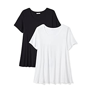 Daily Ritual Women's Plus Size Jersey Short-Sleeve Scoop Neck Swing T-Shirt, 2-Pack, 2X, Navy/White