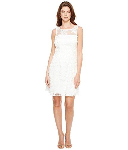 足音資本主義ブレーキ[アドリアナパペル] Adrianna Papell レディース Zelda Fringe Embroidered Lace Mesh Fit and Flare Sleeveless Dress ドレス White 2 [並行輸入品]
