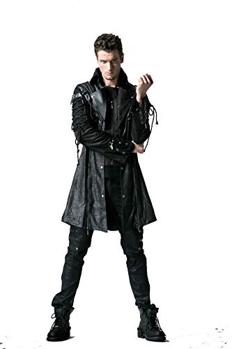 Punk Men's Trench Coat Gothic Bright PU Leather Full Zip Stand Collar Long Jacket Coat Winter Outwear Black]()
