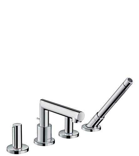 (AXOR Uno 4-Hole Roman Tub Set Trim with Zero Handles with 1.75 GPM Handshower)