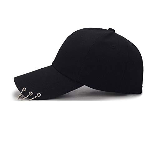 OVOY- Kpop Hat Ring Baseball-Cap - Suga-Snapback Baseball Cap Iron Rings (White)