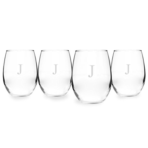 Set 4 Etched Wine Glasses (Cathy's Concepts Personalized 21 oz. Stemless White Wine Glasses, Set of 4, Letter J)