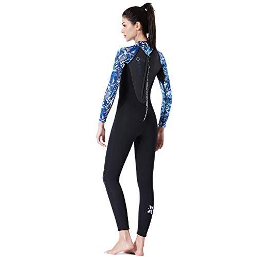 TANLANG Men Women Full Wetsuits Wetsuit Back Zip Long Sleeve for Diving Surfing Snorkeling One-Piece Wet Suit Blue by TANLANG (Image #1)
