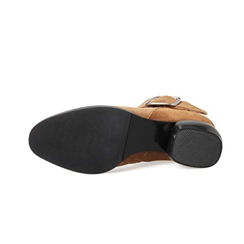 Mujer Zapatos Cinturón Cuero Negro Moda De Hebilla Martin Otoño Yan Amarillo Botas Tacón Invierno Libre Aire Al Para Un Grueso Caminar UPFqnWIf