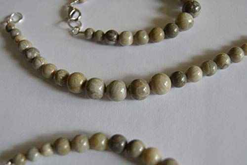 - Michigan Gemstone Fossil Coral Jewelry Bracelets Petoskey, and Favosite stone beaded handcrafted choice of size each one unique