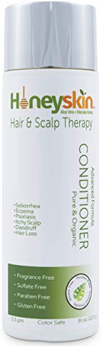 Hair Regrowth Conditioner Aloe Vera - Coconut Oil, Manuka Honey - Scalp Eczema, Psoriasis, Seborrheic Dermatitis Remedy - Itchy Dry, Hair Loss Treatment (8oz)